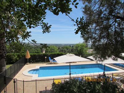 The grounds have views out to the sea. The pool ranges from 70cm to 1.8m deep.