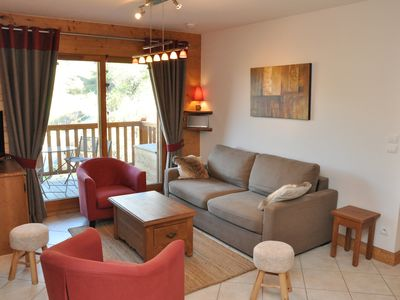 Photo for Les Arcs 1800: Beautiful Apartment in MGM Chalet - view Mont Blanc - on ski slopes