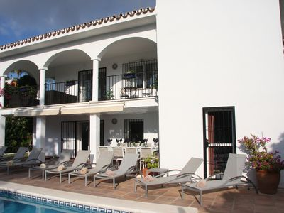 Photo for Gorgeous 5 Bed Beachside Villa, Heated Pool, Sea Views, Hi Speed Wifi, Sky TV