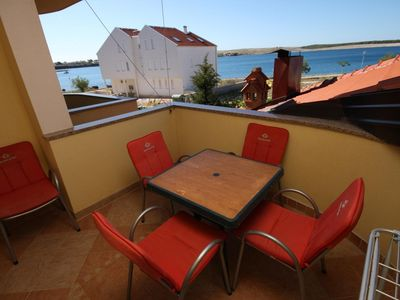 Photo for One bedroom apartment with terrace and sea view Povljana, Pag (A-3316-b)
