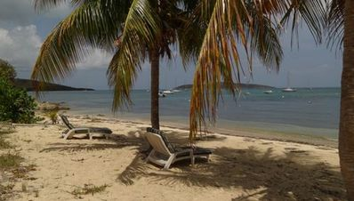 Relax on your sandy beach front and enjoy Buck Island views and easy water acces