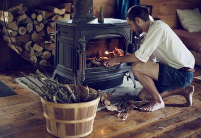 This efficient wood burning stove keeps you cozy in the cold months.