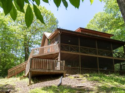 Photo for Creekside cabin w/ wood-burning fireplace, pool table, & outdoor fire pit!