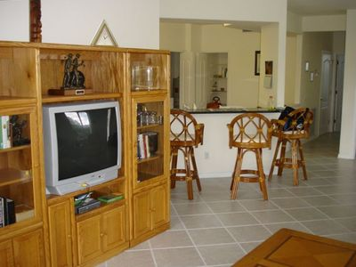 Family Room with entertainment center - cable, dvd player and large screen TV