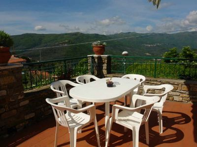 Photo for Apartment quietly located at Torria, an old olive-growing village in the mountains Great panoramic view of the valley Beautiful garden