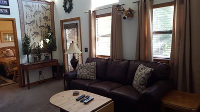 2nd floor family room with access to a deck