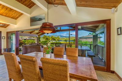 Dining table with Hanalei Bay in the background