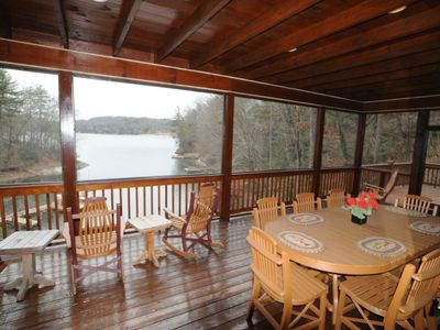 Photo for Lakefront Cabin on Lake Glenville w easy access close to Cashiers