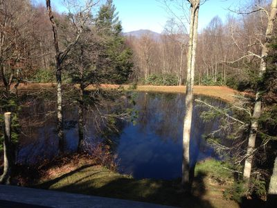 Fishing pond in back yard with views of Beech Mountain.