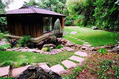 Steps leading to the studio cottage - like a Japanese garden.