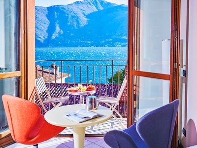 Photo for Romantic Lake View Apartment 2 people on Beach Acquaseria Lake Como FreeWif
