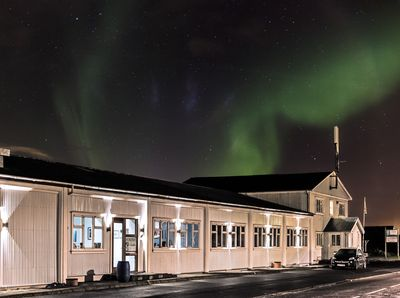 Northern lights over the building
