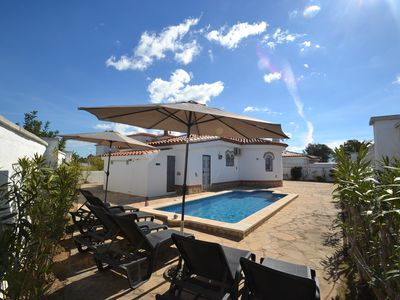 Photo for Villa Azalees:Private sw.pool in 500 sqm Property-3bedrooms-Free wifi,AC,linen-Satellite-Near beach