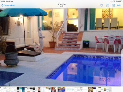 Photo for Villa with pretty mountain views & own  heated  pool. Car not essential