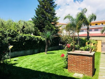 Photo for Beautiful private villa with A/C, WIFI, TV, terrace, panoramic view and parking, close to Catania
