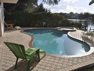 enjoy your own private heated salt water pool and hot tub with water views - Saltwater Hot Tub