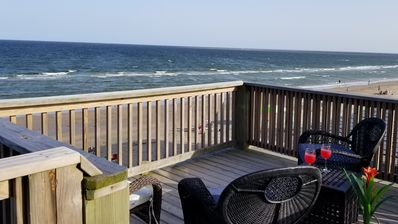 Photo for One of only a few houses on the Pedestrian Beach. Out the door on to beach.