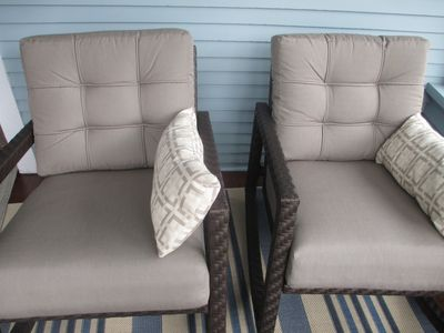 Very comfy chairs on the front porch.