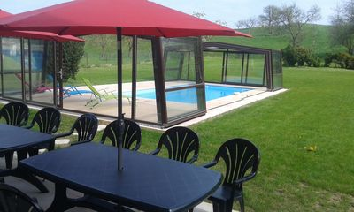 Photo for Large holiday home with heated indoor pool, 12 people