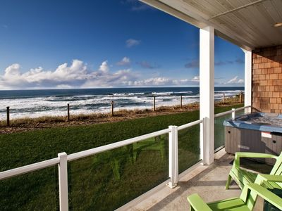 Photo for Oceanfront w/ hot tub & pool. Close walk to beach & shops.