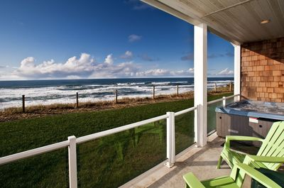 Private patio & hot tub - Hot tub has oceanfront views for spotting the whale spouts