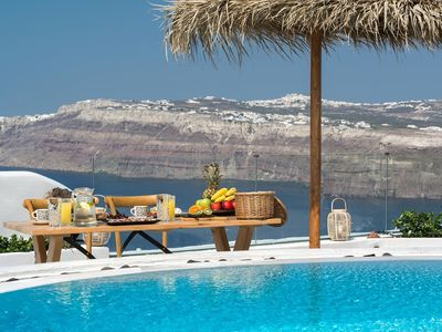 Photo for Valentine Villa Santorini Caldera View 4br upto 9guests Private Pool