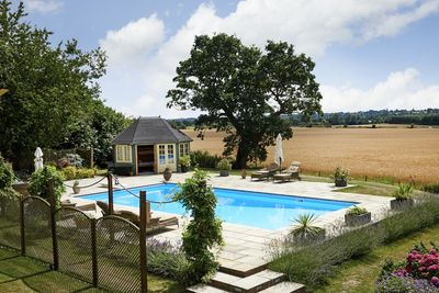 Pool with views of Dedham Vale