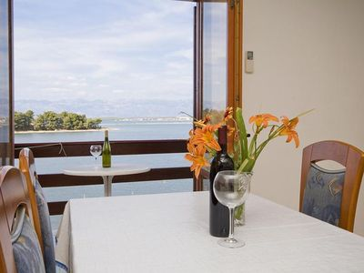 Photo for One bedroom apartment with balcony and sea view Nin (Zadar)