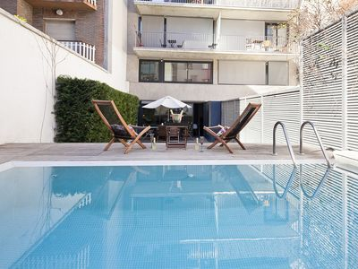 Photo for Apartment Barcelona Rentals - Private garden and pool duplex in the centre 10pax