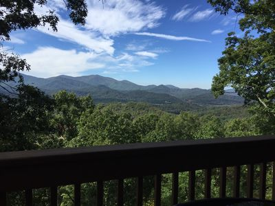 A clear year-round view of the mountains from one of the two back decks.