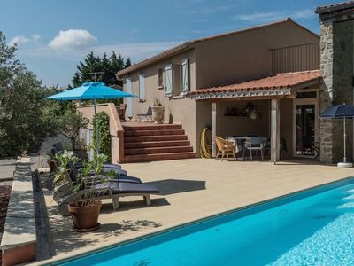 Photo for Entire villa with private swimming pool and stunning view over the town of Caunes
