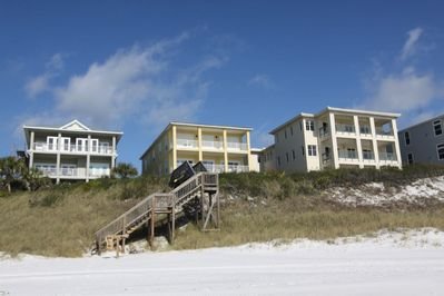 Emerald Surf Villas is the Center Yellow Building
