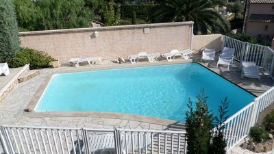 Photo for T2 for 4 people, swimming pool, parking, 15 min walk to the sea (Villa Lantorine)
