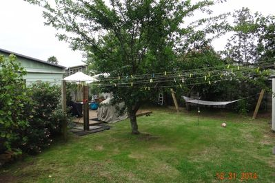 Outdoor shower hammock & Basket ball  hoop.