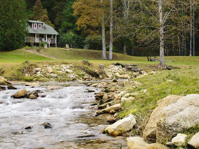 Photo for Private Honeymooners/Writer's cabin w/ bold stream, pond, and Parkway access