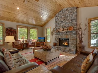 Great Room: Gas Fireplace with Custom Stone Work, Vaulted Ceilings, Large Window