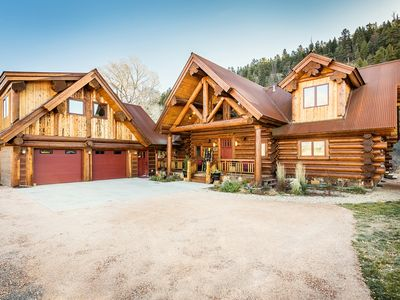 Photo for River Crest Cabins, River Front Luxury Log Home, Slps 20, Hot Tub, Chefs Kitchen