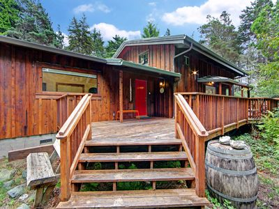 Photo for Coastal redwood retreat w/deck, wood stove & forest view