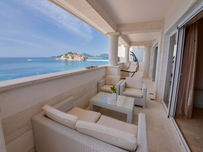 Photo for Sveti Stefan Beachfront Penthouse- the best location and space in Sveti Stefan!!