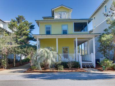 Photo for Charming, beachy home w/ garden patio, covered porch & shared pool!