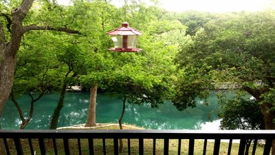 relax on the balcony that overlooks the pristine Comal River