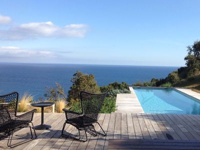 Photo for Facing the sea, air-conditioned villa for 10 people, with spa and secure heated pool