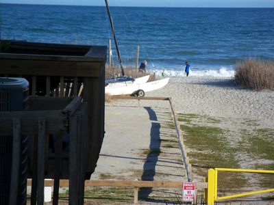 View of the beach from front deck...Just a short walk to relaxing on the beach.