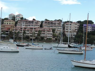 View of Grande Bay from Cruz Bay when coming in on ferry.