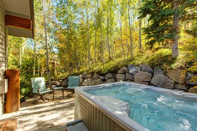 Private Patio with a Hot Tub Off the Upper Level Grand Master Bedroom - Beautiful Wooded Views