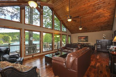 Beautiful Great Room with view of Lake and Hills.  Located on a quiet cove.