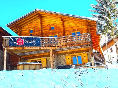 Photo for CATERED Ski Chalet Alpe d'Huez Wifi, Sky TV, Hot Tub, Sauna, Prices Per Person