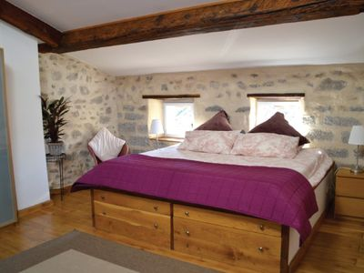 The Master bedroom with hand made Emperor bed and en-suite. Air conditioned.