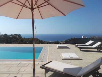 On the Pool Terrace, looking out over the sea. Esentepe Villa DeloMoore