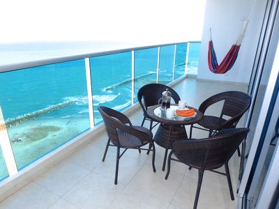 Photo for Beachfront 2BR Apt with Pool, Fabulous Balcony & Sea Views, Steps To Old City
